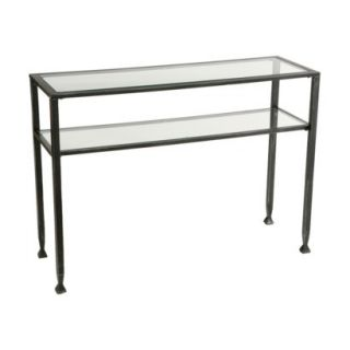 Accent Table Distressed Metal Sofa Table   Black