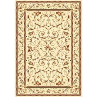 Lyndhurst Collection Traditional Ivory/ Ivory Rug (4 X 6)