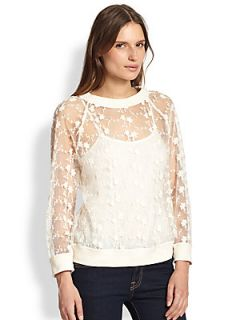 Line & Dot Sheer Embroidered Lace Sweatshirt   Ivory