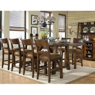 Woodland Ridge 9 Piece Trestle Counter Height Table Set Multicolor   LGC855 2