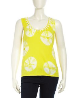 Bead Embellished Lemon Slice Print Top, White/Yellow, Womens