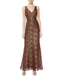 V Neck Metallic Lace Gown, Gold/Red