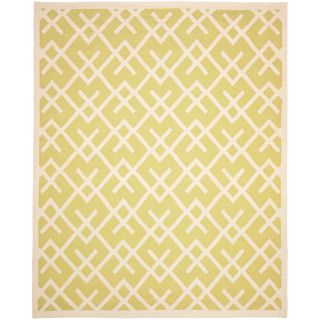 Safavieh Hand woven Moroccan Dhurrie Light Green/ Ivory Wool Rug (10 X 14)