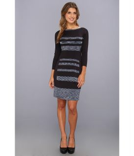 Jessica Simpson Long Sleeve Stripe Sweater Dress with Back Cut Out Womens Dress (Blue)