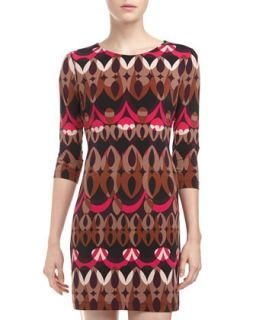 Three Quarter Sleeve Printed Jersey Dress, Multicolor