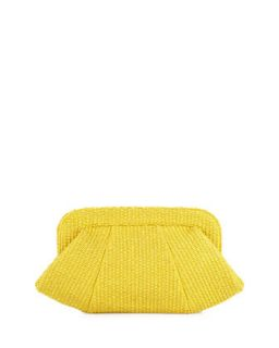 Tatum Raffia Snap Top Clutch, Yellow