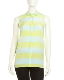Edith Sleeveless Strip Top, Mint/Yellow