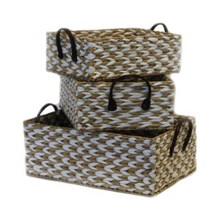 Baum Essex 3 Piece Two Tone Rush Storage Baskets, Natural