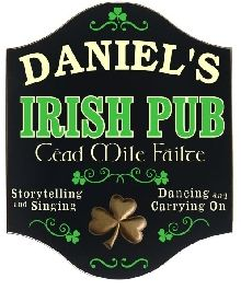 Personalized Irish Pub Sign with Resin Relief