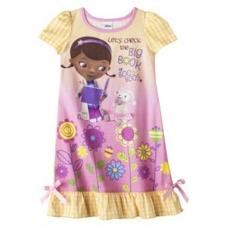 Doc McStuffins Toddler Girls Short Sleeve Nightgown   Yellow 2T