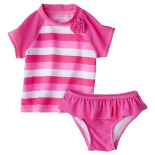 Circo Infant Toddler Girls 2 Piece Stripe Rashguard Set   Pink 2T
