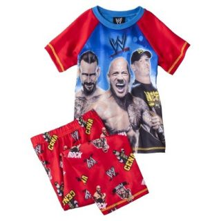 WWE Boys 2 Piece Short Sleeve Tee and Pant Pajama Set   Red XS