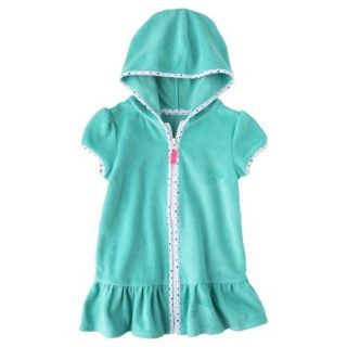 Circo Infant Toddler Girls Hooded Cover Up Dress   Turquoise 9M