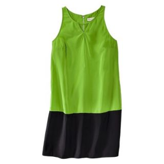 Merona Womens Colorblock Hem Shift Dress   Zuna Green/Black   XXL