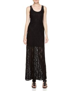 Floral Lace Overlay Maxi Dress, Black