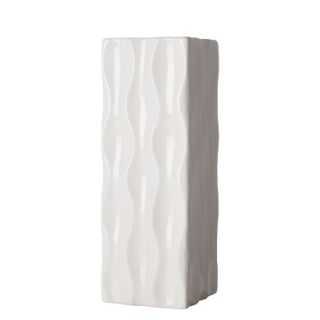 Short Ripple Square Vase White   11 by Torre & Tagus