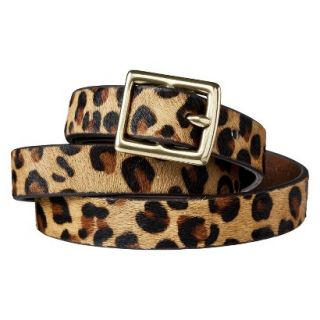 Merona Leopard Print Calf Hair Belt Brown/Tan   XXL