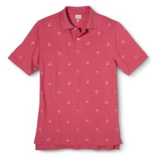 Mens Classic Fit Print Polo Shirt SS Pink M