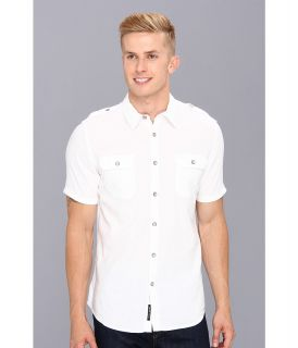 DKNY Jeans S/S Solid Linen/Cotton Shirt City Press Mens Short Sleeve Button Up (White)