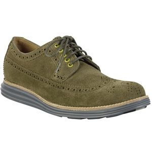 Cole Haan Mens Lunargrand Long Wingtip Oxford Olive Green Suede Camo Shoes, Size 9 M   C12525