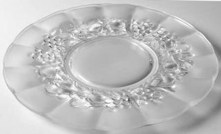 Indiana Glass Garland Frosted Dinner Plate   Frosted Fruit As Base, Clear Panels