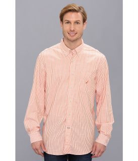 Nautica L/S Slub Poplin Stripe Shirt Mens Long Sleeve Button Up (Red)