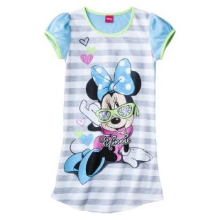Disney Minnie Mouse Girls Short Sleeve Nightgown   Blue XS