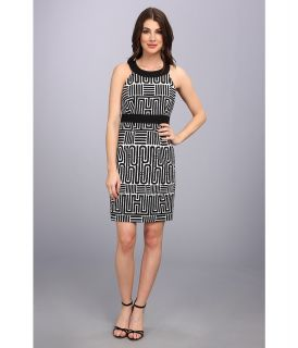 Laundry by Shelli Segal Geo Print Sleeveless Dress Womens Dress (Black)
