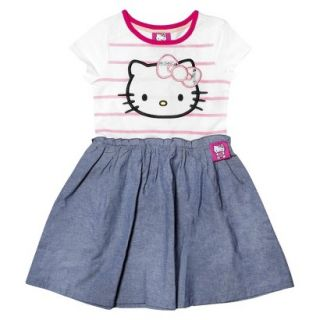 Hello Kitty Infant Toddler Girls Short Sleeve Tunic Dress   White/Chambray 5T