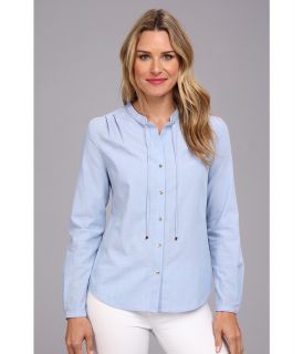 Anne Klein Chambray Long Sleeve Shirt Womens Long Sleeve Button Up (Blue)