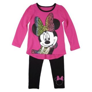 Disney Infant Toddler Girls Minnie Mouse Top and Bottom Set   Fuchsia 3T