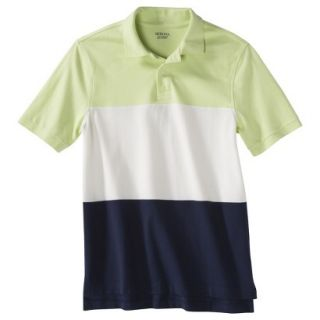 Mens Classic Fit Colorblock Polo Shirt Navy white yellow XL