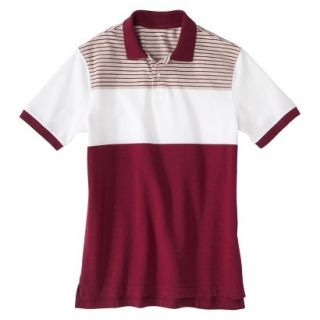 Mens Classic Fit Colorblock Polo Shirt Radish Maroon Red White Grey stripe M