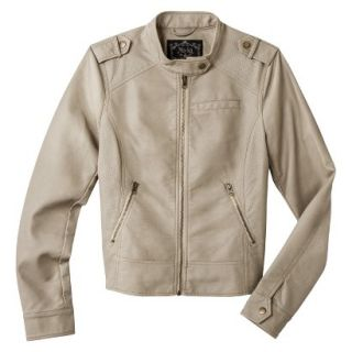 Coffee Shop Womens Faux Leather Jacket  Cream S