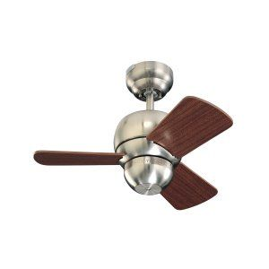 Monte Carlo MON 3TF24BS Brushed Steel Micro 24 24 3 Blade Mahogany Ceiling Fan