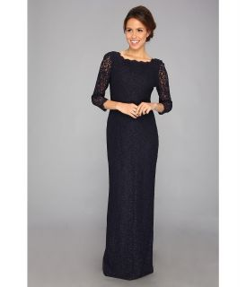 Adrianna Papell Long Sleeve Lace Gown Womens Dress (Navy)