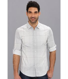 Calvin Klein Jeans Mini Check Roll Sleeve Shirt Mens Long Sleeve Button Up (Gray)