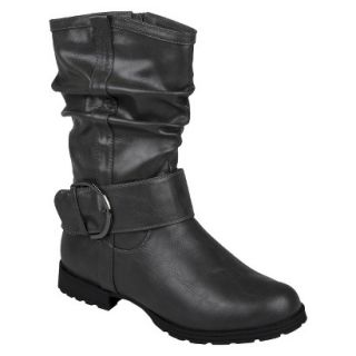 Womens Bamboo By Journee Slouchy Buckle Boots   Grey 8