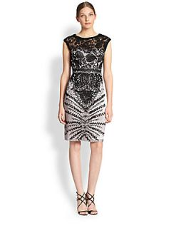 Sue Wong Floral Embroidered Sheath Dress   Black Platinum