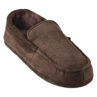 Totes Elements Mens Corduroy Moccasin Slippers   Brown M
