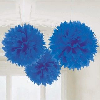 Bright Royal Blue 16 Fluffy Decorations (3)