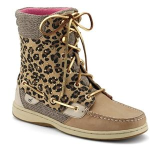 Sperry Top Sider Womens Hikerfish Linen Leopard Pony Studs Boots, Size 6.5 M   9289307