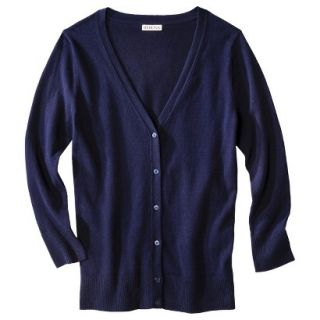Merona Petites Long Sleeve Crew Neck Cardigan Sweater   Navy SP