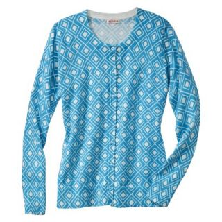 Merona Womens Ultimate Long Sleeve Crew Neck Cardigan   Blue/Cream Print   L