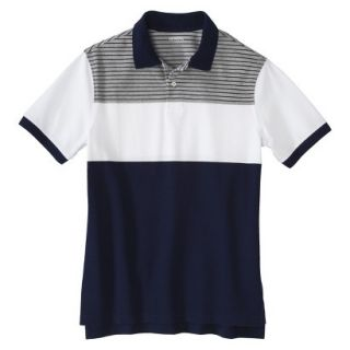 Mens Classic Fit Colorblock Polo Shirt Navy White grey stripe Voyage XL