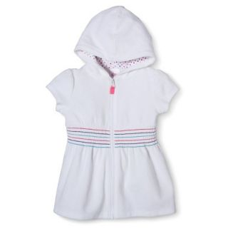 Circo Infant Toddler Girls Hooded Cover Up Dress   White 2T