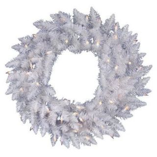 Pre Lit White Spruce Wreath   Clear Lights (24)