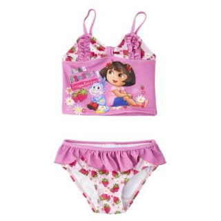 Dora the Explorer Toddler Girls 2 Piece Tankini Swimsuit Set   Pink 2T