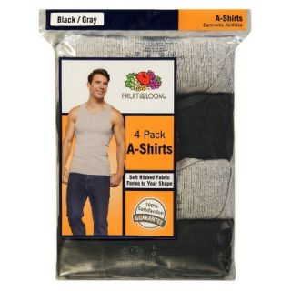 Fruit of the Loom Mens A Shirts 4 Pack   Black/Grey M