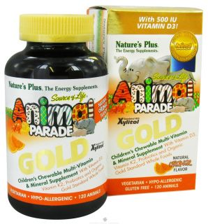 Natures Plus   Source of Life Animal Parade Gold Childrens Chewable Multi Vitamin & Mineral Natural Orange Flavor   120 Chewable Tablets